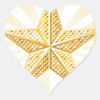 Estrella de oro pegatina en forma de corazón