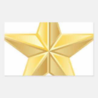 Estrella de oro pegatina rectangular