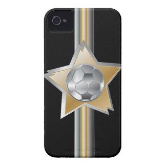 Estrella de oro y de plata del balón de fútbol del iPhone 4 Case-Mate cárcasa