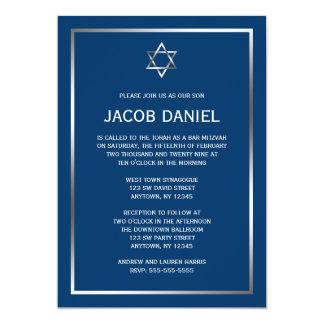 """Estrella de plata azul de las invitaciones de invitación 5"""" x 7"""""""