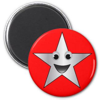 Estrella de plata con la cara sonriente imán redondo 5 cm
