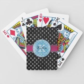 Estrella de plata con monograma baraja cartas de poker