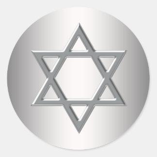 Estrella de plata de los pegatinas de David Etiquetas Redondas
