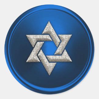 Estrella de plata del azul del sello del sobre de pegatina redonda