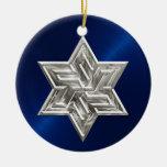 Estrella de plata del ornamento de David Jánuca