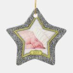 Estrella de plata del oro de Navidad de la primera Adorno