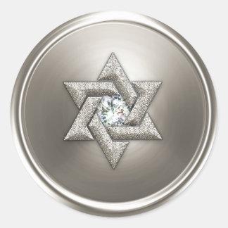 Estrella de plata del sello del sobre de David Etiqueta Redonda