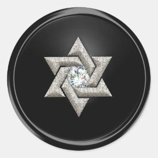 Estrella de plata del sello del sobre de David Pegatina Redonda