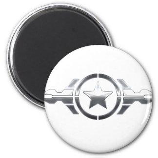 Estrella de plata imán redondo 5 cm