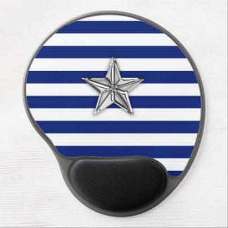 Estrella de plata náutica en rayas azules alfombrilla con gel