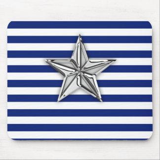 Estrella de plata náutica en rayas de azules tapete de ratón
