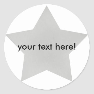 Estrella de plata - pegatinas etiqueta redonda