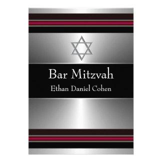 Estrella de plata roja negra de la barra Mitzvah d Comunicado Personal