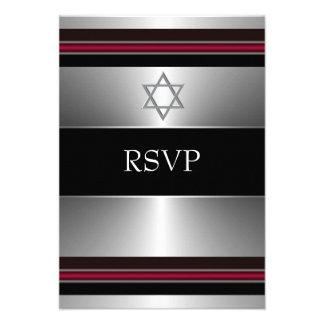 Estrella de plata roja negra de la barra Mitzvah R Comunicado