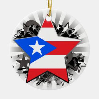 Estrella de Puerto Rico Adorno Redondo De Cerámica