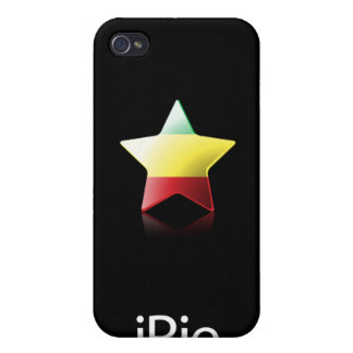 estrella de Rasta del iRie en el negro (caso del i iPhone 4/4S Funda