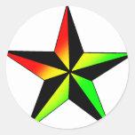 Estrella de Rasta Pegatina Redonda