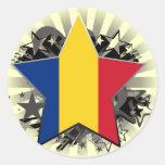 Estrella de Rumania Etiquetas Redondas