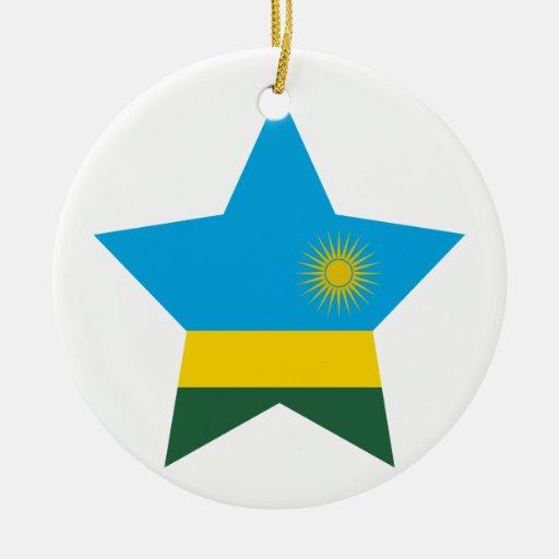 Estrella de Rwanda Adorno Navideño Redondo De Cerámica