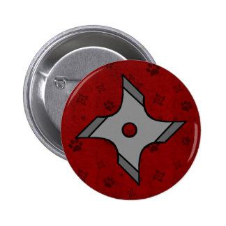 Estrella de Shuriken Ninja en botón rojo Pins