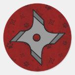 Estrella de Shuriken Ninja en pegatina rojo