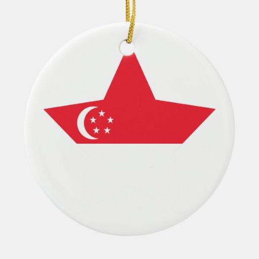 Estrella de Singapur Adorno Navideño Redondo De Cerámica