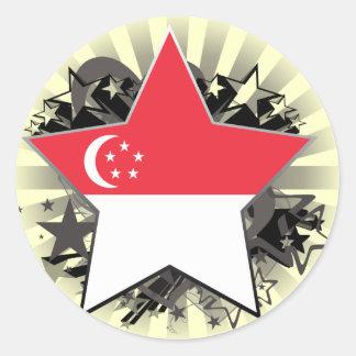 Estrella de Singapur Etiquetas Redondas