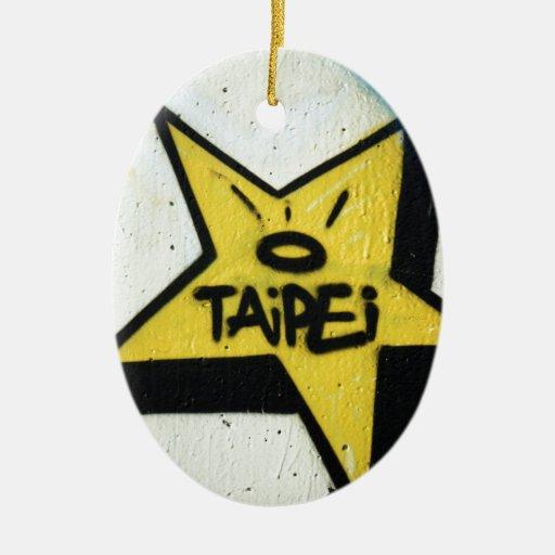 Estrella de Taipei Adorno Navideño Ovalado De Cerámica