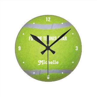 Estrella de tenis futura reloj de pared