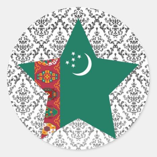Estrella de Turkmenistán Pegatinas Redondas