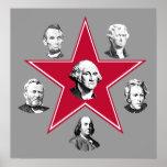 Estrella de Washington y 5 patriotas americanos Poster