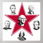 Estrella de Washington y 5 patriotas americanos Posters
