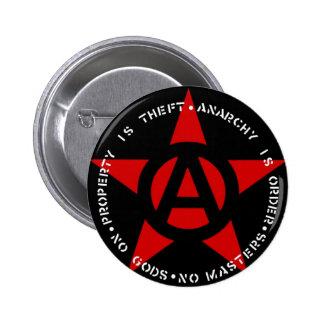 Estrella del anarquista pin redondo de 2 pulgadas