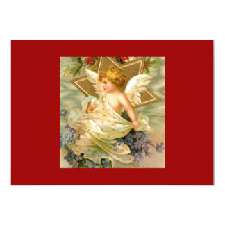 """Estrella del ángel del navidad del vintage invitación 5"""" x 7"""""""