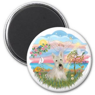 Estrella del ángel - escocés de trigo Terrier Imán Redondo 5 Cm