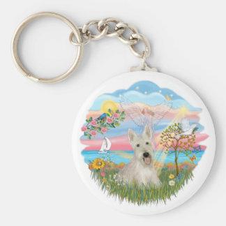 Estrella del ángel - escocés de trigo Terrier Llavero Redondo Tipo Pin