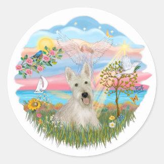 Estrella del ángel - escocés de trigo Terrier Pegatina Redonda
