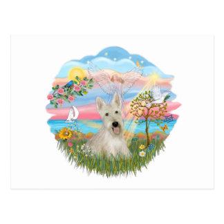 Estrella del ángel - escocés de trigo Terrier Tarjeta Postal