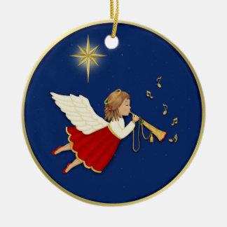 Estrella del ángel y del navidad de la trompeta adorno navideño redondo de cerámica