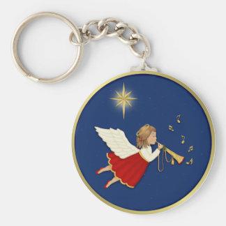 Estrella del ángel y del navidad de la trompeta llavero redondo tipo pin