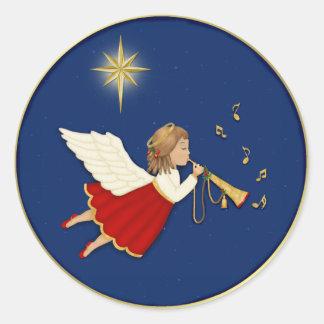 Estrella del ángel y del navidad de la trompeta pegatina redonda