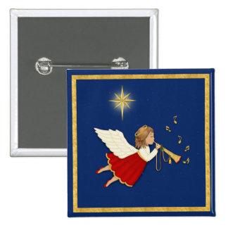 Estrella del ángel y del navidad de la trompeta pin cuadrado