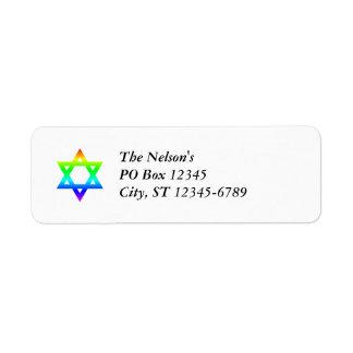 Estrella del arco iris de David Etiquetas De Remite