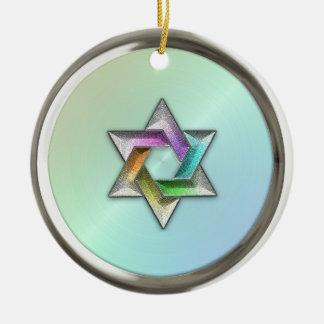 Estrella del arco iris del ornamento de David Adorno Redondo De Cerámica