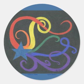 Estrella del arco iris I Pegatina Redonda