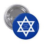 Estrella del azul de Mitzvah de la barra de David Pin Redondo De 1 Pulgada