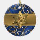 Estrella del azul y del oro del ornamento de David Adorno Navideño Redondo De Cerámica