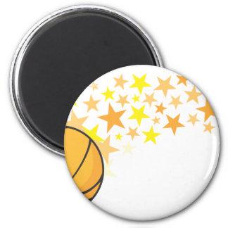 Estrella del baloncesto brillante imán redondo 5 cm