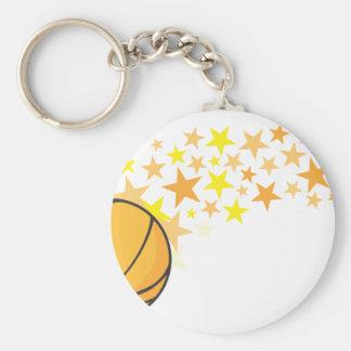 Estrella del baloncesto brillante llavero redondo tipo pin