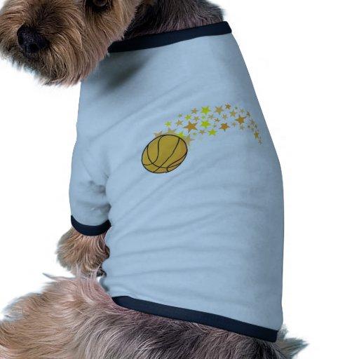 Estrella del baloncesto brillante camiseta con mangas para perro